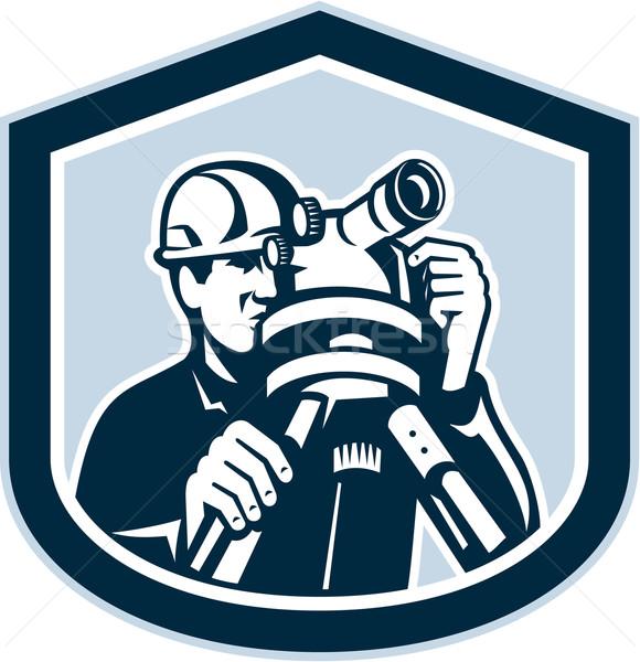 Surveyor Surveying Theodolite Shield Retro Stock photo © patrimonio