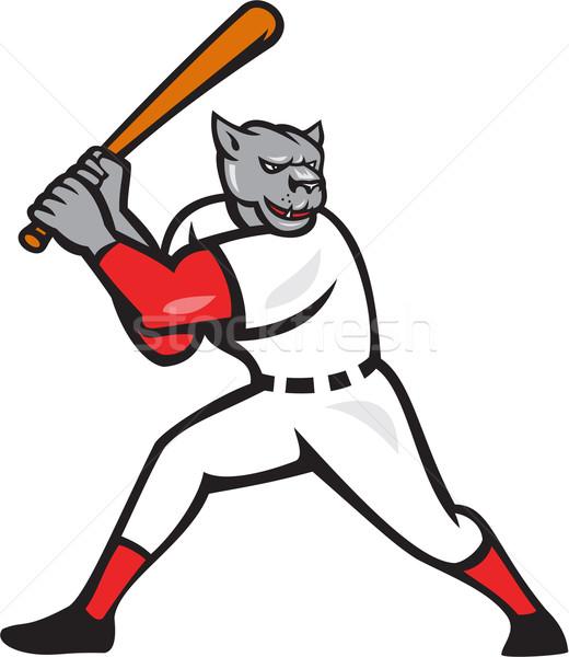 Black Panther Baseball Player Batting Isolated Stock photo © patrimonio
