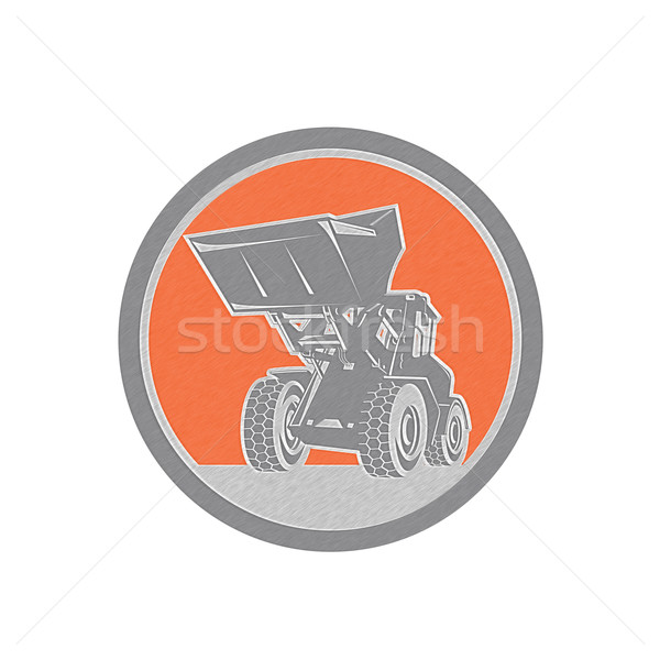 Metallic Front End Loader Digger Excavator Circle Retro Stock photo © patrimonio
