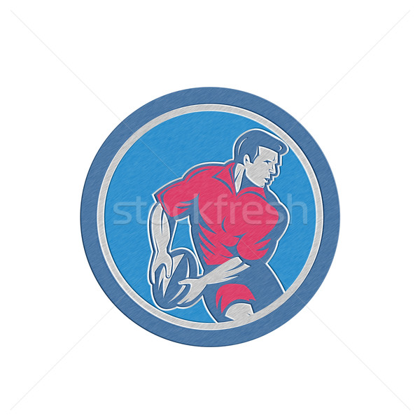 Metallic Rugby Player Passing Ball Circle Retro Stock photo © patrimonio