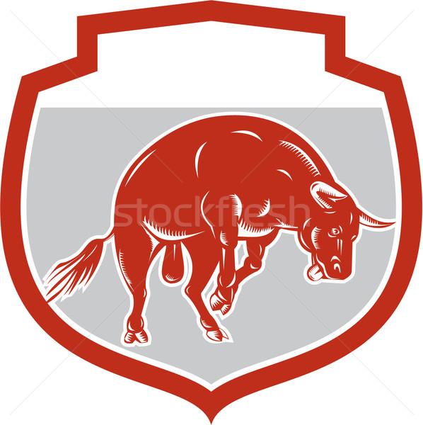 Raging Bull Jumping Attacking Charging Retro Stock photo © patrimonio