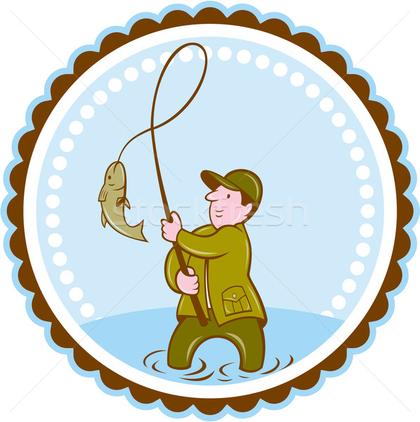 Fly Fisherman Fish On Reel Rosette Cartoon Stock photo © patrimonio