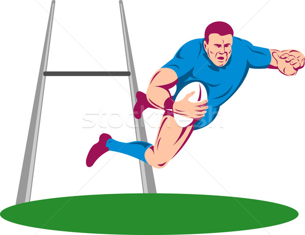 rugby player jumping try Stock photo © patrimonio