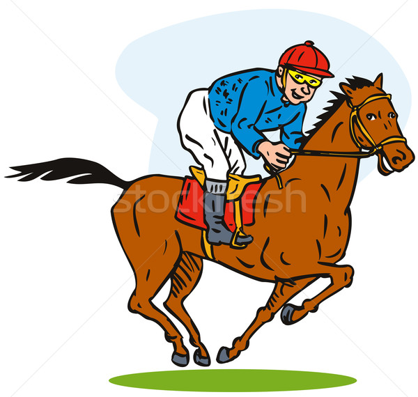 Horse rider cartoon style Stock photo © patrimonio