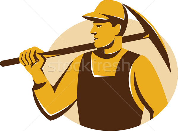 Miner Worker With Pickaxe Retro Stock photo © patrimonio