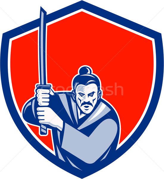 самураев воин меч щит ретро иллюстрация Сток-фото © patrimonio