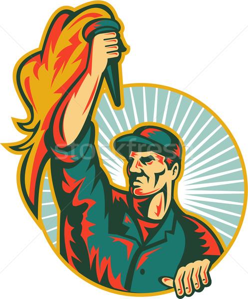 Worker Holding Up Flaming Torch Circle Retro Stock photo © patrimonio