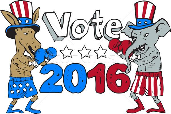 Vote 2016 Donkey Boxer and Elephant Mascot Cartoon Stock photo © patrimonio