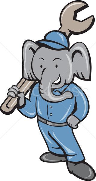 ストックフォト: 象 · メカニック · スパナ · 立って · 漫画 · 実例