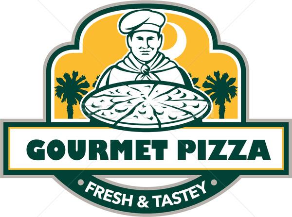 Gourmet Pizza Chef Palmetto Trees Shield Retro Stock photo © patrimonio