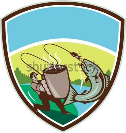 Uçmak balıkçı kupa somon sorguç Retro Stok fotoğraf © patrimonio