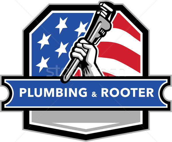 Plumber Hand Pipe Wrench USA Flag Crest Retro Stock photo © patrimonio