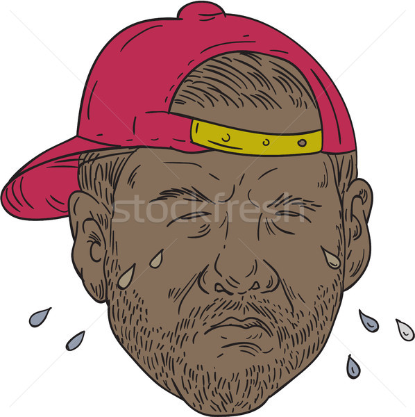 African-American Rapper Crying Drawing Stock photo © patrimonio