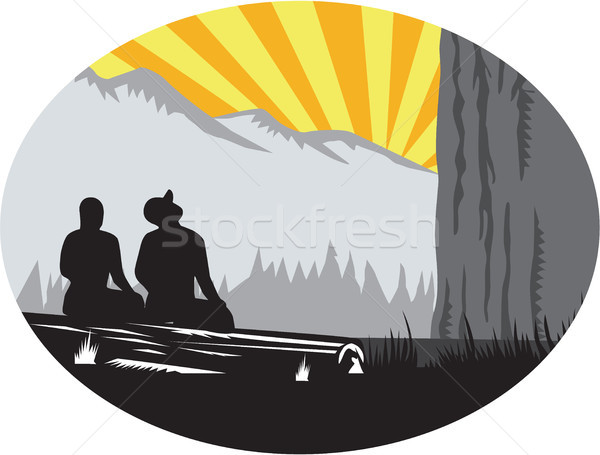 Trampers Sitting Looking Up Mountain Oval Woodcut Stock photo © patrimonio
