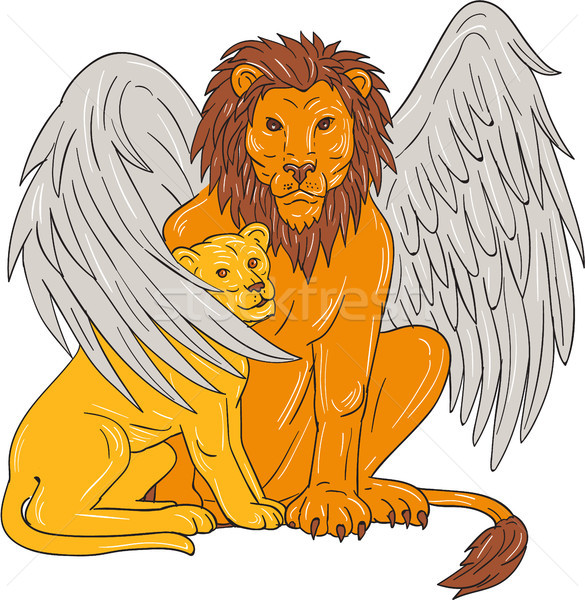 Winged Lion With Cub Under Its Wing Drawing Stock photo © patrimonio