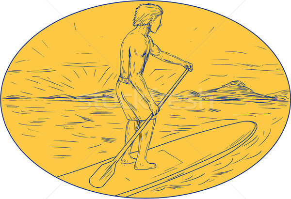 Dude Stand Up Paddle Board Oval Drawing Stock photo © patrimonio