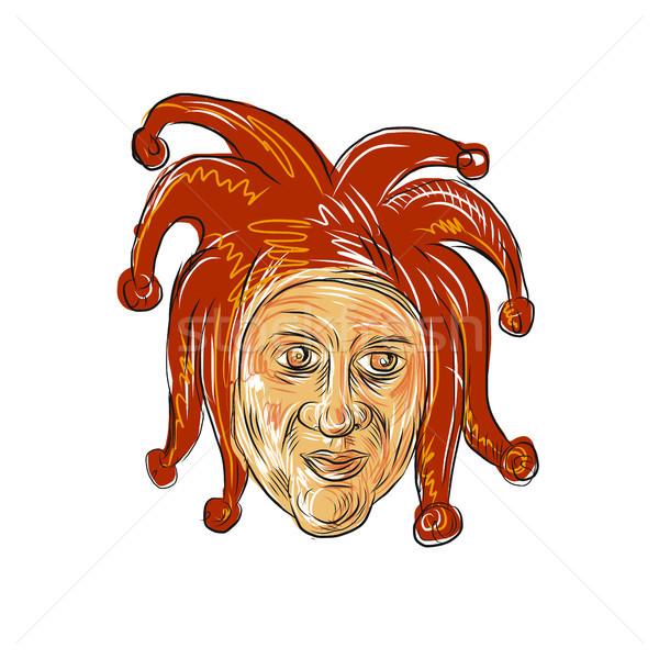 Court Jester Head Drawing Stock photo © patrimonio