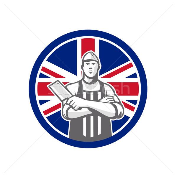 Stockfoto: Brits · slager · union · jack · vlag · icon