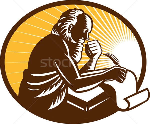 Saint Jerome Writing Scroll Retro Woodcut Stock photo © patrimonio