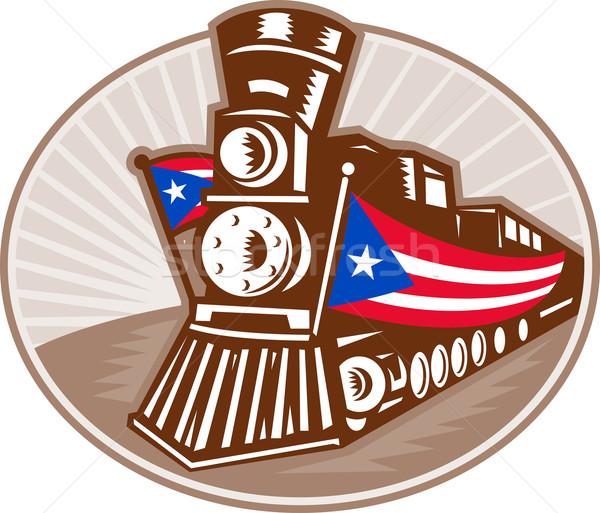 пар поезд локомотив американский флаг иллюстрация американский Сток-фото © patrimonio