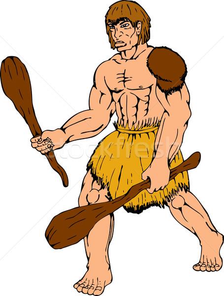 cartoon caveman holding club Stock photo © patrimonio