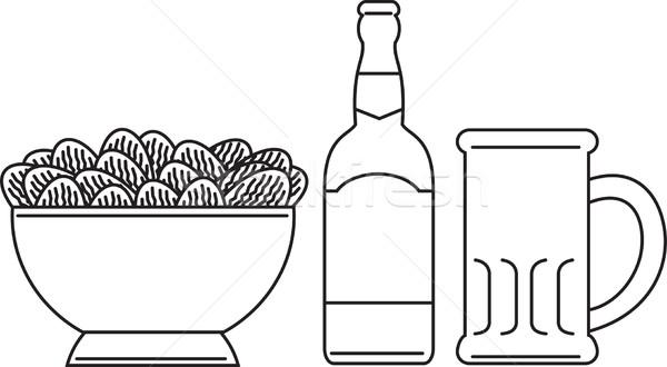 Foto stock: Caneca · tigela · batatas · fritas · linha · desenho