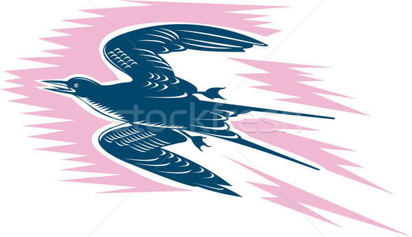 Tern Flying Woodcut Stock photo © patrimonio