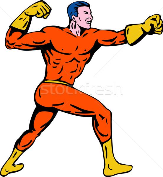cartoon super hero running punching Stock photo © patrimonio
