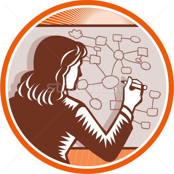 Teacher Businesswoman Writing Mind Mapping Complex Diagram Stock photo © patrimonio