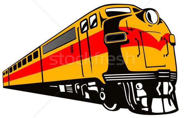 Сток-фото: дизельный · поезд · ретро · иллюстрация · ретро-стиле