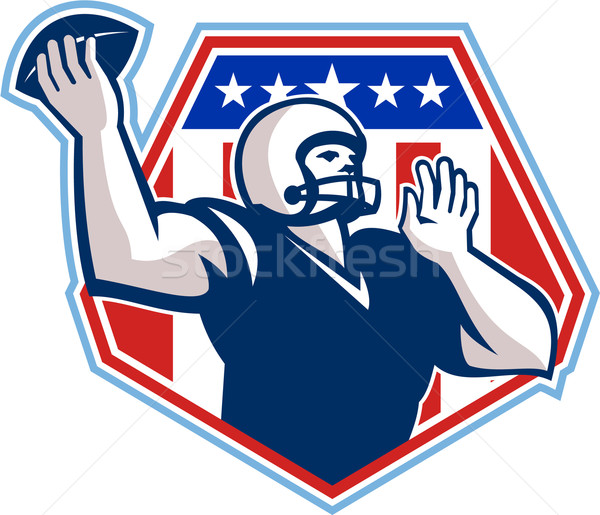 American Football Quarterback Shield Stock photo © patrimonio