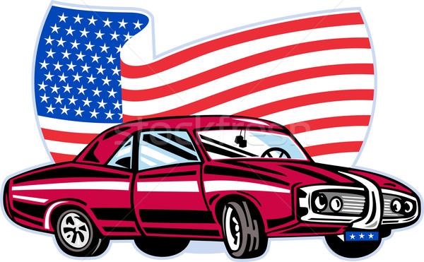 Amerikaanse muscle car vlag grafisch ontwerp illustratie sterren Stockfoto © patrimonio