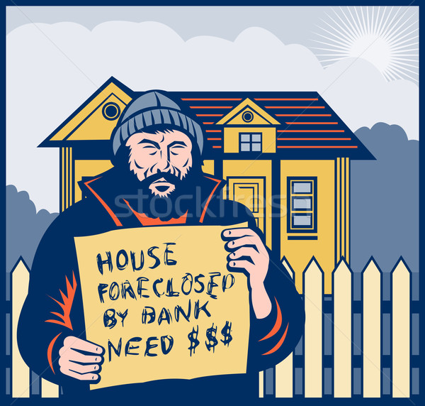 Homeless man or hobo sign foreclosed house Stock photo © patrimonio