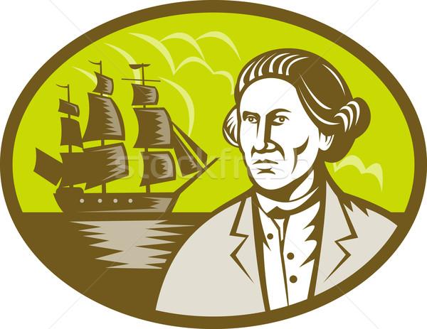 Captain explorer with tall ship galleon  Stock photo © patrimonio