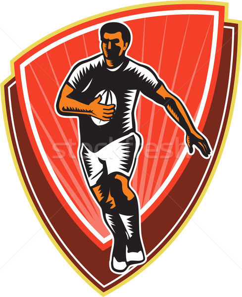 Rugby Player Running Ball Front Woodcut Stock photo © patrimonio