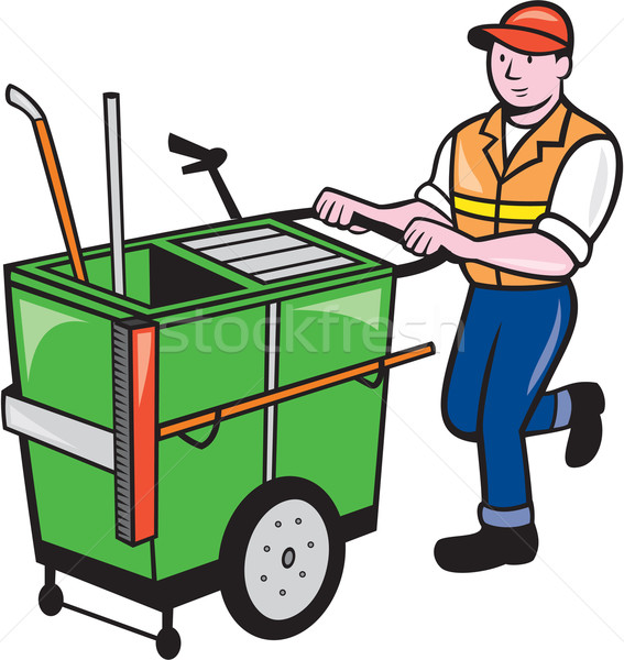 Streeet Cleaner Pushing Trolley Cartoon Isolated Stock photo © patrimonio