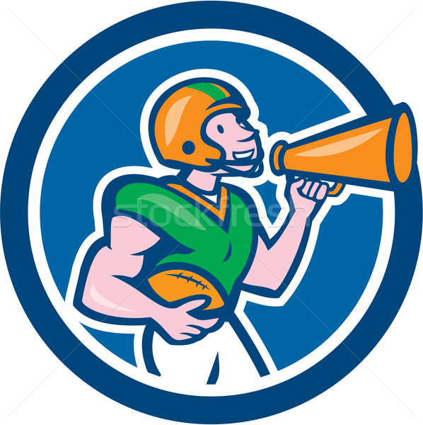 American Football Quarterback Bullhorn Cartoon Stock photo © patrimonio