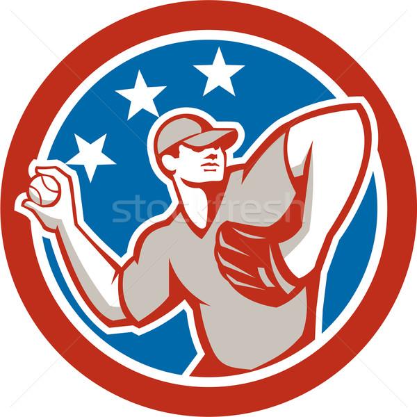American Baseball Pitcher Throwing Ball Circle Retro Stock photo © patrimonio
