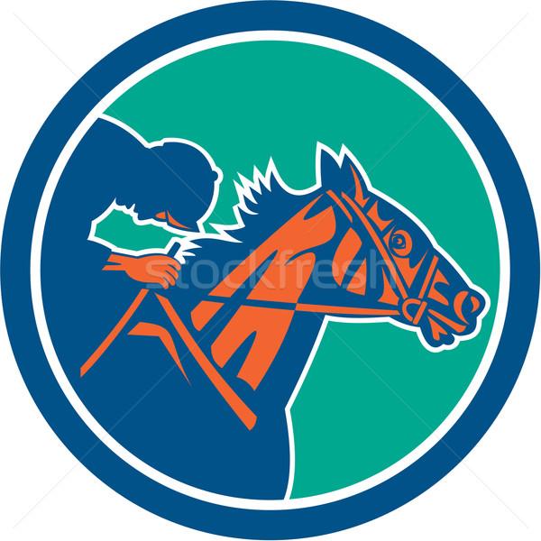 Cavalo jóquei corrida círculo retro ilustração Foto stock © patrimonio