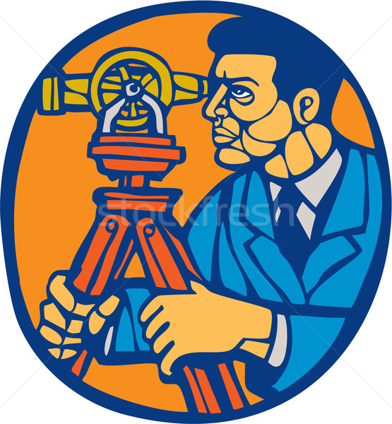 Surveyor Geodetic Theodolite Woodcut Linocut Stock photo © patrimonio