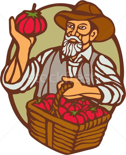 Organic Farmer Tomato Basket Woodcut Linocut Stock photo © patrimonio