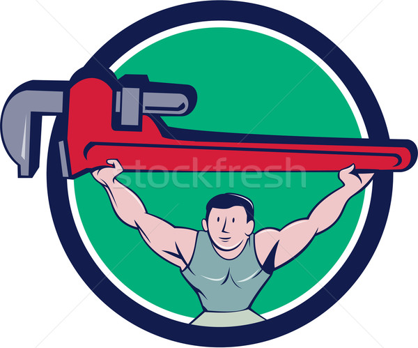 Stock fotó: Vízvezetékszerelő · súlyemelő · majom · franciakulcs · kör · rajz