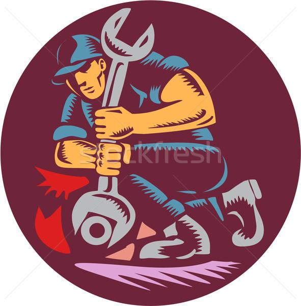 Mechanic Wrench Unscrewing Circle Woodcut Stock photo © patrimonio