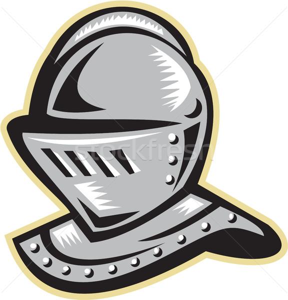 Knight Helmet Woodcut Stock photo © patrimonio