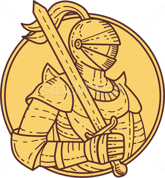 Knight Sword On Shoulder Circle Mono Line Stock photo © patrimonio