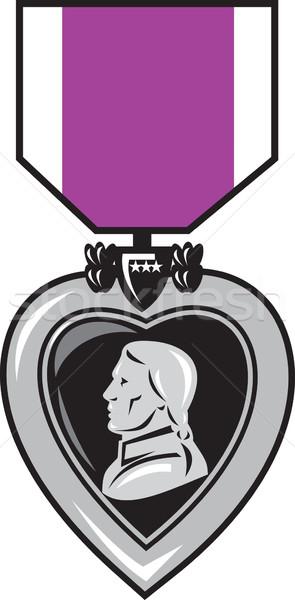 Katonaság érem lila szív illusztráció becsület Stock fotó © patrimonio