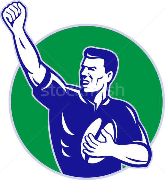 rugby player with ball pumping fist Stock photo © patrimonio