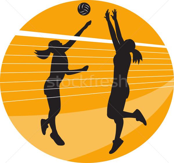 Volleyball Player Spiking Blocking Ball  Stock photo © patrimonio