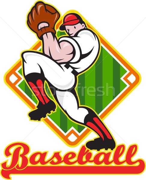 Baseball Pitcher Player Pitching Diamond Stock photo © patrimonio