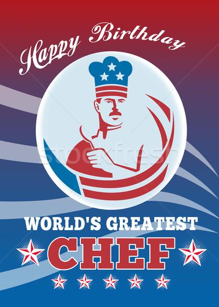 Legnagyszerűbb szakács boldog születésnapot üdvözlőlap poszter illusztráció Stock fotó © patrimonio